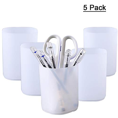 YAOYUE 5 Pack Pencil Pen Holder Cup Containers Makeup Desk Organizer Storage for Office School Home Supplies (White(5…