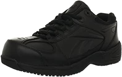 Reebok Mens Black Leather Street Sport Jogger Oxford Jorie Comp Toe 4 M