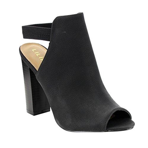 LILIANA GF17 Women's Peep Toe Ankle Strap Slingback Stacked Chunky Heel Booties