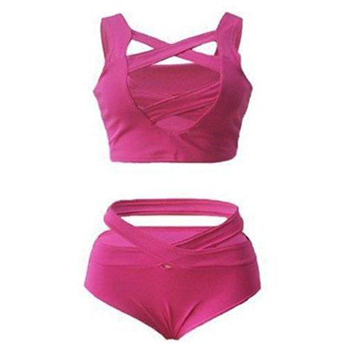 SZH Cross Bandage de las mujeres de dos piezas Swimwear Nylon Bikini Set Rojo / Rosa / Azul 2