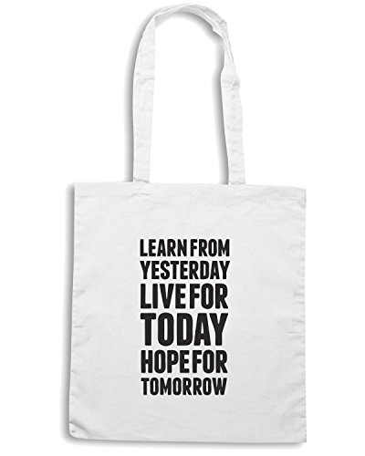 T-Shirtshock - Bolsa para la compra CIT0141 Learn From Yesterday Live For Today Blanco