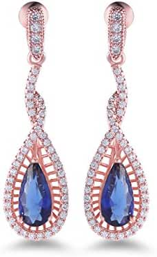 GULICX Rose Gold Tone Pear White Crystal Rhinestone Promise Party Gorgerous Dangle Earring