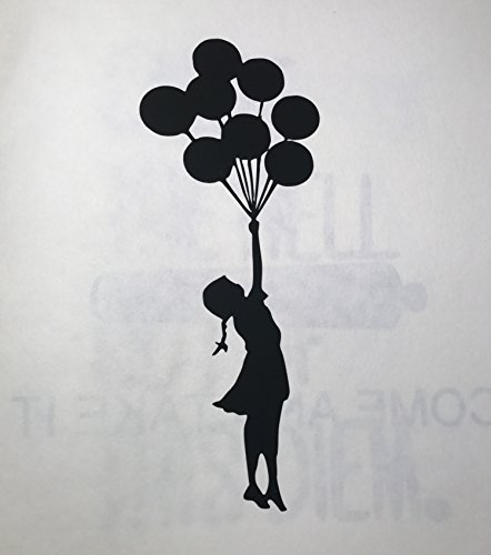 - Banksy | Balloon Girl | Vinyl Decal | Wall Decor | Car Decal | Black 4x2 Inch Decal