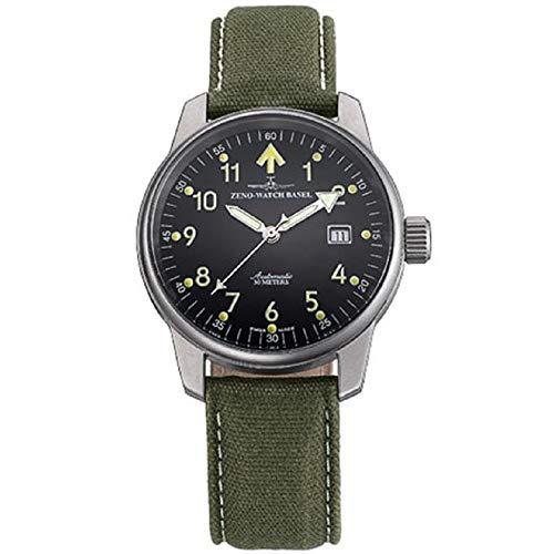 Zeno Pilot Black Dial Leather Strap Men's Watch 6554RA-B