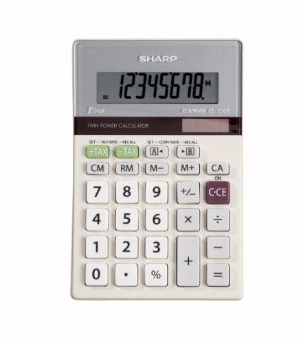 Sharp HO EL-330TB 8 Digit Solar and Battery Powered LCD Calculator