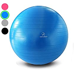 Exercise Ball - Professional Grade Anti-Burst Yoga Ball, Balance Ball for Pilates, Yoga, Stability Training and Physical Therapy (Blue (No Pump), 65cm)