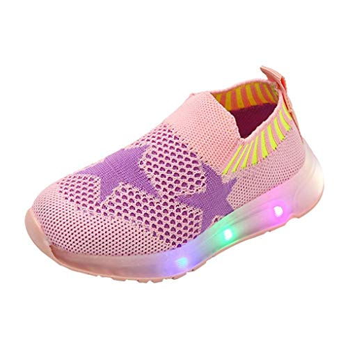 Dainzuy Kid Girls Boys Led Light Star Mesh Sport Luminous Casaul Shoes (Age:2.5-3T US:7 EU:23, Pink) ()