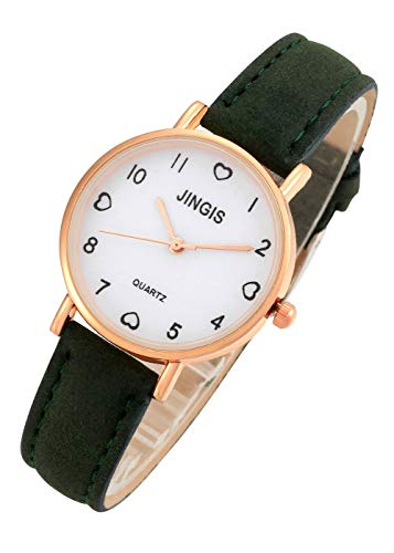Top Plaza Womens Simple Fashion Green Leather Analog Quartz Wrist Watches Arabic Numerals Casual Dress Watch