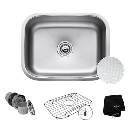 KRAUS Outlast MicroShield Scratch-Resist Stainless Steel Undermount Single Bowl Sink, 23
