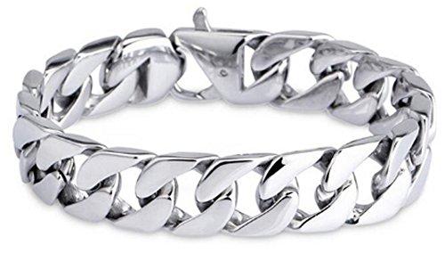(CC-JJ - 19MM Wide Men Bracelet Stainless Steel Chain )