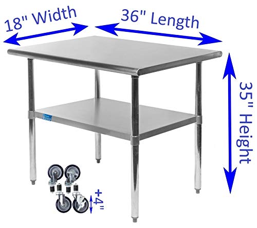 AmGood Stainless Steel Work Table - with Undershelf & Casters (Wheels) | Food Prep | Utility Work Station | NSF Certified | All Sizes (36'' Length X 18'' Width) by AmGood (Image #1)