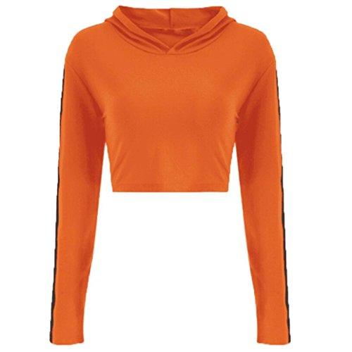 Blusa Mujer Larga Deportive De Sudaderas Alta Con Para Naranja Cinnamou Manga Tops Tumblr Mujers Abrigo Cintura Capucha Cortas Ropa AXqt1a6