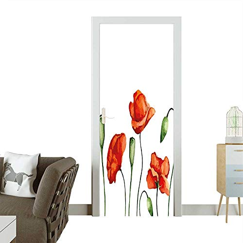 Homesonne Modern Art Door Sticker Floral Theme Watercolor Style Effect Poppies Blossom Illustration Fern Green and Scarlet Environmentally Friendly decorationW23 x H70 INCH from Homesonne