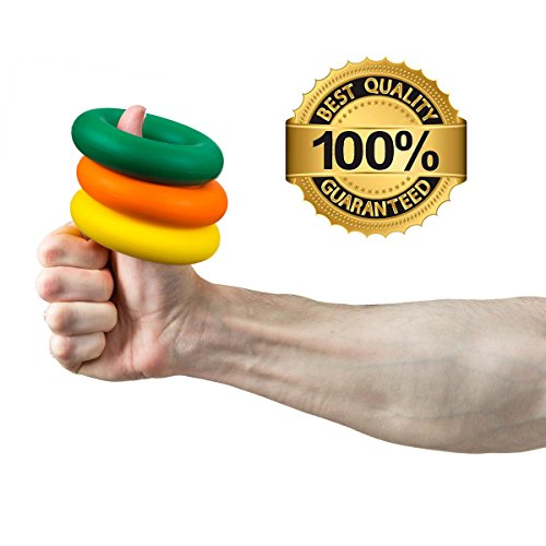BEST HAND GRIP STRENGTHENER By Iron Crush, A Forearm Wrist & Finger Exerciser, Set of 3 Level Resistance, 2 Year Warranty, Perfect Trainer 4 Rehabilitation & Athletes, The Grippers U R Looking 4!