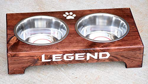 Personalized Dog Feeding Stand - Raised Dog Feeder - Elevated Dog Bowls - Modern Dog Bowls - Rustic Wood Dog Stand - Small Medium Dog Stand by Country Barn Babe