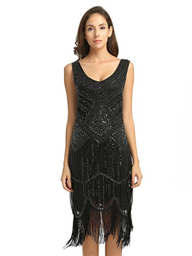 Deargles Women's 1920s Gastby Inspired Sequined Embellished Fringed Flapper Dress XPR001 Black M