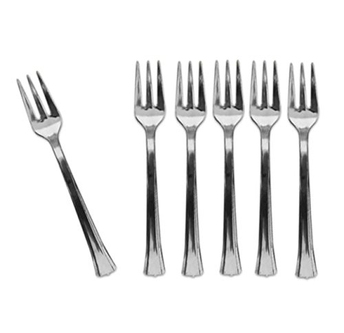 Mini Silver Disposable Dessert And Appetizer Forks Set Of 48, 4.5 Inches ()