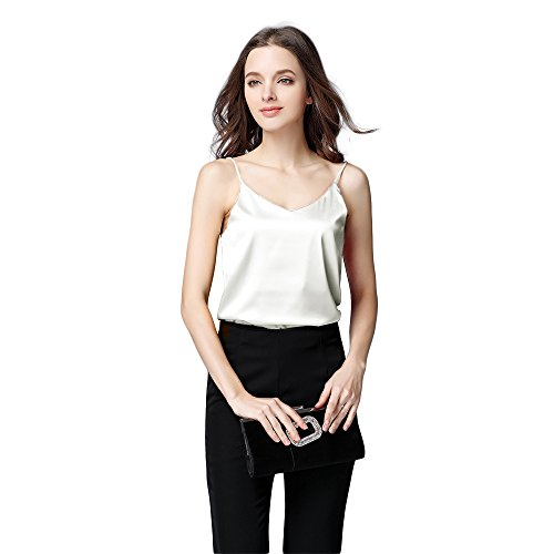 Runbery Basic Women's Silk Tank Top Ladies V-Neck Camisole Silky Loose Sleeveless Blouse Tank Shirt with Soft ()