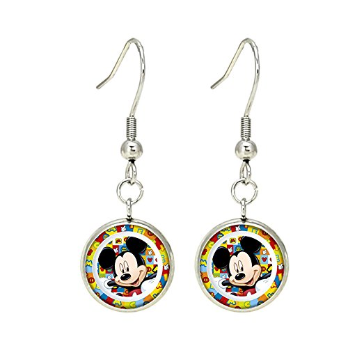 Dangle Disney Earrings (Mickey Mouse Disney Premium Quality Silvertone Dangle Earrings Micky Mouse Club House)