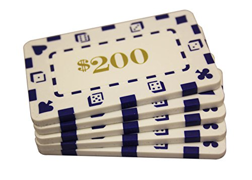 5 Pcs Rectangular Poker Chips Plaques $200 White