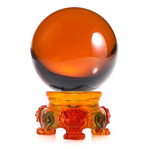 - Amlong Crystal 3 inch (80mm) Amber Crystal Ball with Rainbow Lion Resin Stand and Gift Box for Decorative Ball, Lensball Photography, Gazing Divination or Feng Shui, and Fortune Telling Ball