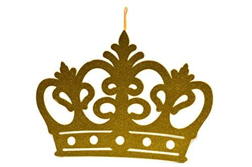 (Princess Crown Glitter Foam Banner, Backdrop Decoration Large Gold)