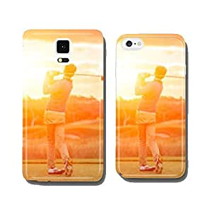 Golf player tee off at sunset cell phone cover case Samsung S5