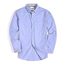 Markalar Mens Oxford Dress Shirts Modern Fit Long Sleeve Casual Button Down Shirt