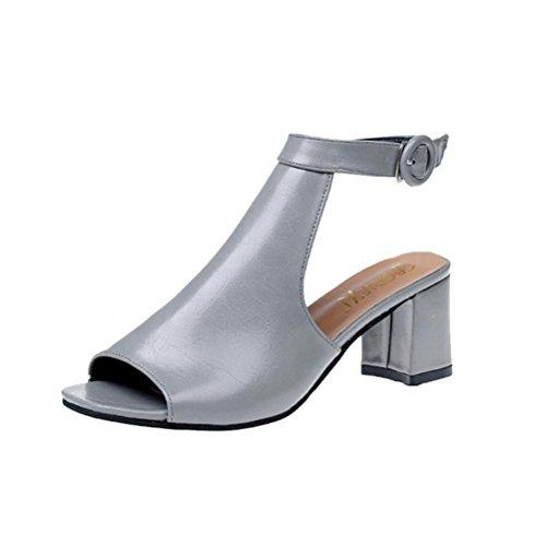 Club Piattaforma Lavoro Shoes Ankle Chiusa Da Partito Scintillante Court Tacchi Grey Sandali Donna Open Alti Vemow Toe Donna Romani Block Calzature Punta Gladiatore Per qHTvZznwW