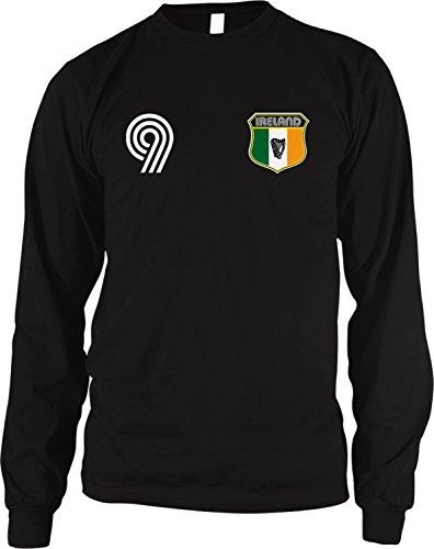 Ireland Soccer Style Crest and Number Men's Long Sleeve Thermal Shirt, Amdesco, Black Medium (Soccer Neck Thermal)