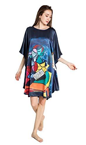 (Grace Silk 100% Silk Nightgown, Picasso - Deux Personnages (La Lecture))