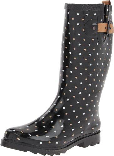Chooka Damen Tall Rain Boot Klassischer Punkt Schwarz