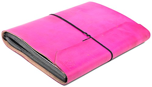 INDIARY Genuine Buffalo Leather Photo Album Scrapbook with Handmade Paper 13x10 Inch - Simple And Noble ()