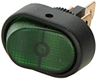 HELLA H61920001 SPST Green Rocker Switch