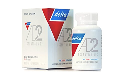 Essential AD2 - Patented & Clinically Proven for ALDH2 Deficiency and Alcohol Flush Reaction (Asian Flush Or Asian Glow)