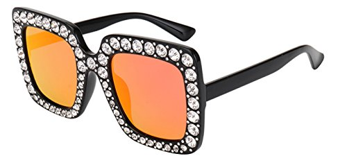My Shades - Designer Inspired Oversize Square Frame Transparent Sunglasses Jewel Toned Colors Embellishments (Black, (Fun Embellishment)