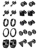 LOYALLOOK 6-12Pairs Stainless Steel Earrings For Men CZ Stud Earring Tiny Ball Stud