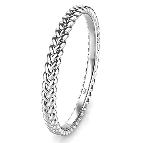 (Sz 6.0 Solid 10K White Gold 2MM Eternity Braided Rope Stackable Wedding Band Ring)