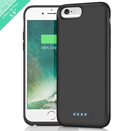 Trswyop Battery Case for iPhone 6 Plus/6s Plus, 8500mAh Portable Charger Case Rechargeable External Charging Case Protective Battery Power Bank for Apple iPhone 6s Plus/6 Plus (5.5 Inch) (Black)