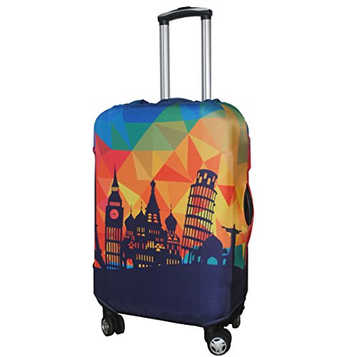 Explore Land Travel Luggage Cover Suitcase Protector Fits 18-32 Inch Luggage (Modern City, L(27-30 inch luggage))