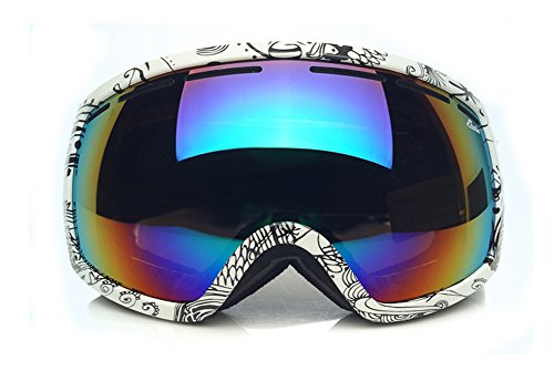('Fit Over Glasses' Anti-Fog Anti-Explosion Dual Lense Black and White Pattern Frame Black Mirror Lens with Colorful Membrane Pro Ski Goggles with Case for Helmet in Snow )