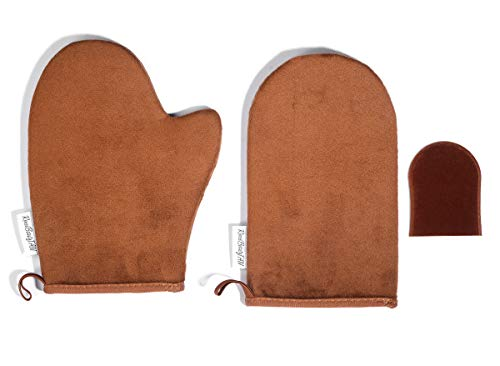 Flawless Bronzing Brush Gel - Reneetan 3 Packs Self Tan Mitt Sunless Tan Gloves Applicator Face Mitts for Self Tanner