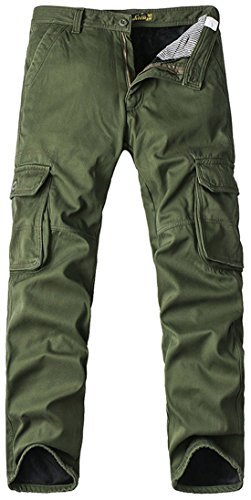 Chouyatou Men's Outdoor Sports Multi Pockets Dungaree Fleece Lined Cargo Work Pants (38, Army Green)