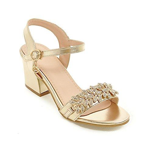 Al De Toe Peep Golden Sandalias Qin Tobillo Bloque Mujer amp;x Tacones fwExxqH8P