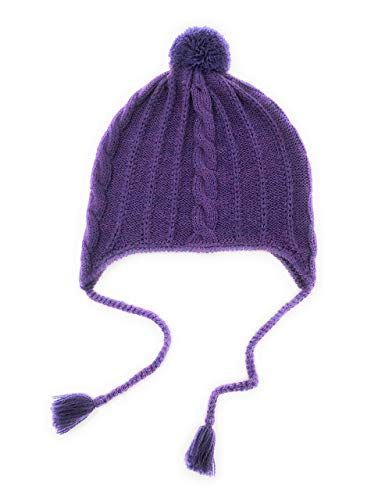 Alpaca Wool & Acrylic Knit Beanie with Braids & Pom-Pom - Winter Toboggan Hat - Unisex/Adult / Teen (Sugar Plum)