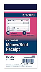 Tops Money Receipt Book, 2-part, Carbonless, 2 58 X 5 38 Inches, 50 Sheets, White & Canary, (46820)