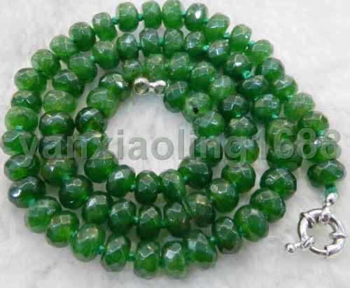 FidgetGear Beautiful Green 5x8mm Emerald Faceted Roundel Beads Necklace 18