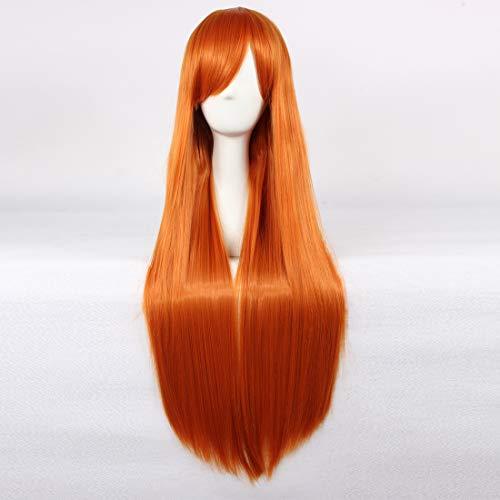 HOOLAZA Orange Long Straight Wig Inoue Orihime Eva Asuka Shikinami Langley Asahina Mikuru Shirley Fenette for the Halloween Party Cosplay Wigs -