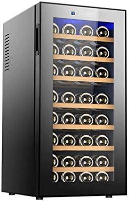 32 Botellas Vinoteca Nevera para Bebidas de Vino Del Refrigerador 8-18 ℃ Temperatura Zona De Bebida De La Bebida Frigorífico Bodega 8 Estantes de La Puerta de Cristal De Luz LED Negro 51,5 × 40 × 81.8