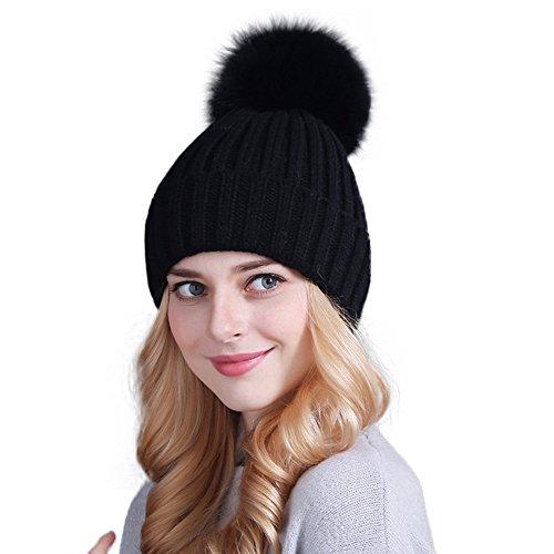 - Winter Women's Genuine Fox Fur Pom Pom Trend Wool Knitted Beanie Hat (Black)